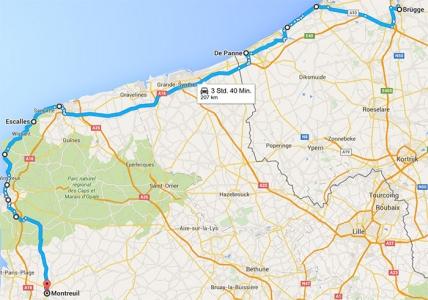 Route-Mittwoch-Montreuil sur Mer